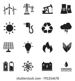 Energy Icons. Black Flat Design. Vector Illustration.