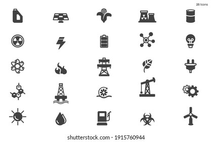 Energy icons - Black series stock illustration Icon, Fuel and Power Generation, Electricity, Power Line stock illustration