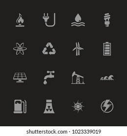Energy icons - Gray symbol on black background. Simple illustration. Flat Vector Icon.