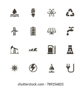 Energy icons. Perfect black pictogram on white background. Flat simple vector icon.