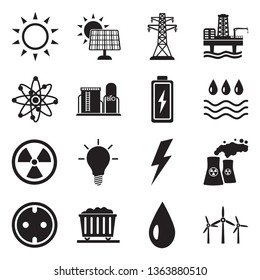 Energy Icons. Set 2. Black Flat Design. Vector Illustration.