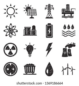 Energy Icons. Set 2. Black Scribble Design. Vector Illustration.