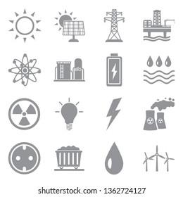Energy Icons. Set 2. Gray Flat Design. Vector Illustration.
