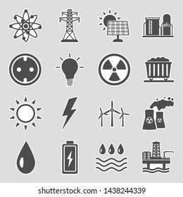Energy Icons. Set 2. Sticker Design. Vector Illustration.