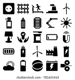 Energy icons. set of 25 editable filled energy icons such as factory, plug socket, sun, treadmill, table lamp, protein powder, fitness bottle, bulb in hand, atom, ful battery