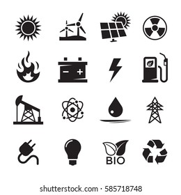 Energy icons set. Black on a white background