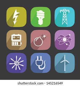 Energy Icons Set. New style icons long shadow