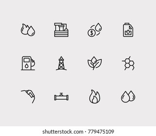 Energy icons set with oil pipeline, oil drop and gasoline pump nozzle. Set of energy icons also including droplet sign for your web app logo UI design.