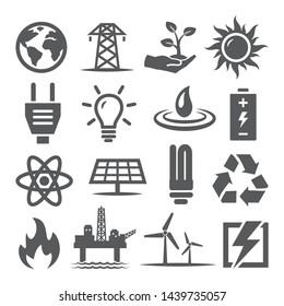 Energiesymbole auf weißem Hintergrund