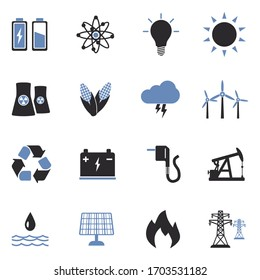 Energy Icons. Two Tone Flat Design. Vector Illustration.