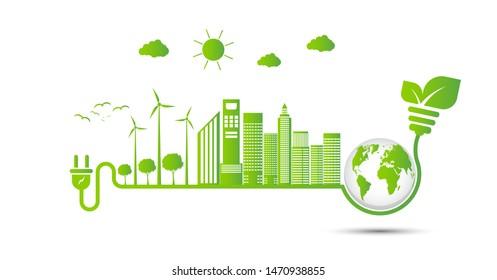 Energy ideas save the world concept Power plug green ecology