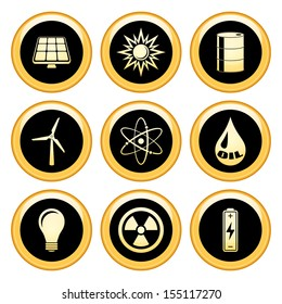 Energy and Industrial Icons Gold Icon Set