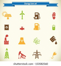 Energy and industry icon set in color