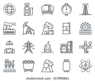 Energy industry icon set suitable for info graphics, websites and print media. Black and white flat line icons.
