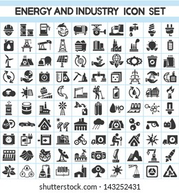 energy and industry icons set, go green icons