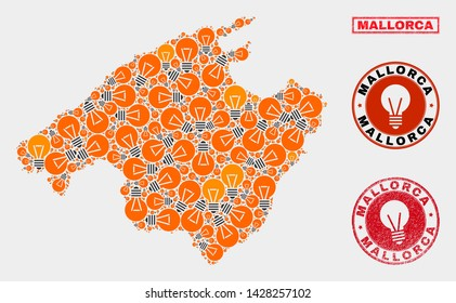 Energy lamp mosaic Mallorca map and grunge rounded stamp seals. Mosaic vector Mallorca map is created with electric lamp items. Abstract images for power supply services. Orange and red colors used.