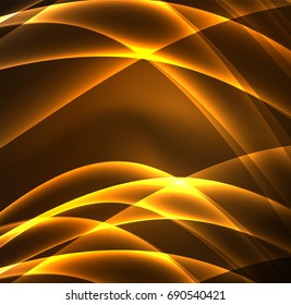 Energy lines, glowing waves in the dark, vector abstract background. Vector business or technology presentation design template, brochure or flyer pattern, or geometric web banner