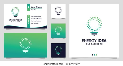 Energy logo with gradient circle bulb idea and business card design template Premium Vector