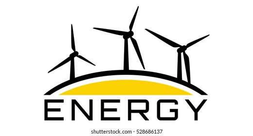 Energy logo with wind-driven generator