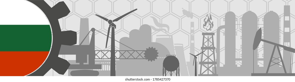 Energy, manufacturing and power icons set. Header or footer banner. Sustainable energy generation, transportation and heavy industry. Flag of the Bulgaria
