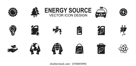Energy miscellaneous source related vector icon user interface graphic design. Contains such icons as solar, tree, electric, renewable electric, water, fossil, oil, nature, earth, nuclear, compost - Shutterstock ID 1978493990
