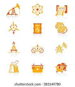 Energy, power and electricity red-orange icon-set