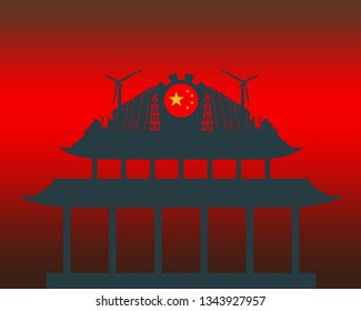 Energy and Power icons on the pagoda roof. Energy generation and heavy industry. Flag of China