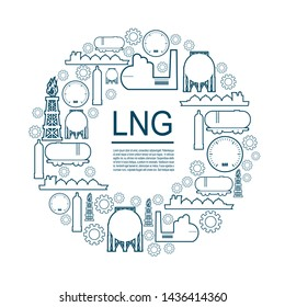 Energy and Power icons set. Design concept of natural gas industry. Circle frame with industrial line icons.