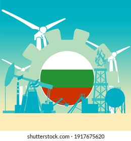 Energy and power icons set with flag of Bulgaria. Sustainable energy generation and heavy industry.