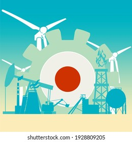 Energy and power icons set with flag of Japan. Sustainable energy generation and heavy industry.