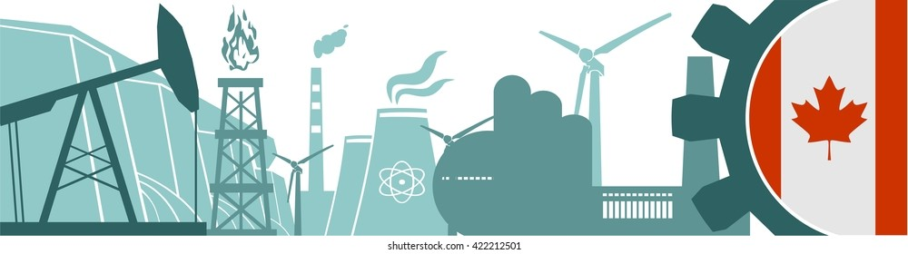 Energy and Power icons set. Header banner with Canada flag. Sustainable energy generation and heavy industry. Vector illustration