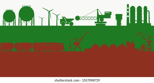 Energy and power icons set on Bulgaria flag backdrop. Header or footer banner. Sustainable energy generation, transportation and heavy industry.