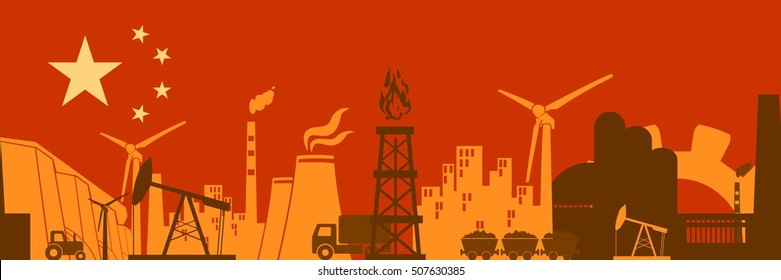 Energy and Power icons set on China flag backdrop. Header or footer banner. Sustainable energy generation and heavy industry. Vector illustration. Seamless background