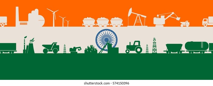 Energy and Power icons set on India flag backdrop. Header or footer banner. Sustainable energy generation and heavy industry. Vector illustration. Seamless background
