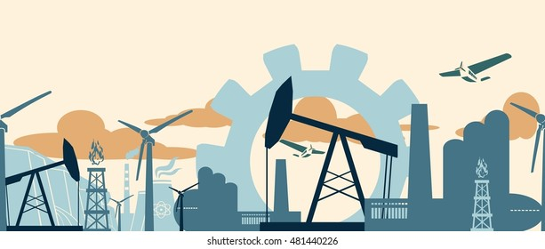 Energy and Power icons set . Sustainable energy generation and heavy industry. Vector illustration