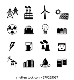 Energy power pictograms collection of light bulb electric battery and fossil fuels isolated vector illustration