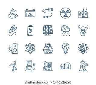 Energy and Power Related Flat Doodle icons