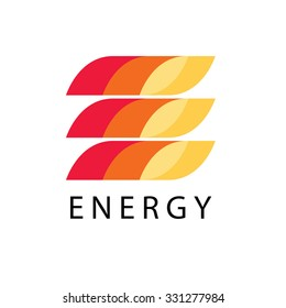 Energy power vector logo template in fire style. Petrol, fuel, diesel, gasoline, benzine, gas, fuel tank, oil industry business card ribbon concept. Letter e print icon idea in red, yellow background.
