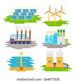 Energy producing stations infographic elements. Vector flat design isolated on white background - stock vector