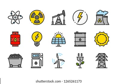 Energy related color line icons. Power vector linear colorful icon set. Isolated icon collection on white background.
