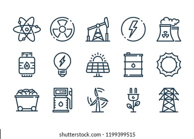 Energy related line icon set. Power vector linear icons.