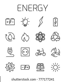 Energy related vector icon set. Well-crafted sign in thin line style with editable stroke. Vector symbols isolated on a white background. Simple pictograms.