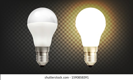 Energy Save Electric Glowing Led Light Bulb Vector. Light-emitting Diodes In Light Bulb, Economical Lamp Innovation Technology. Domestic Illuminate Equipment Layout Realistic 3d Illustration