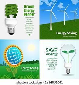 Energy saving banner set. Realistic illustration of energy saving vector banner set for web design