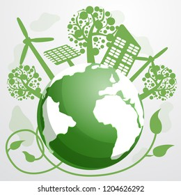 Energy saving concept background. Cartoon illustration of energy saving vector concept background for web design