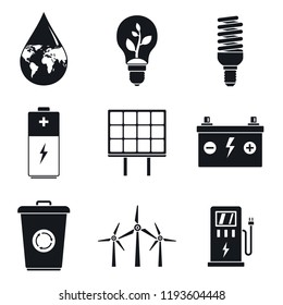Energy saving day icon set. Simple set of energy saving day vector icons for web design on white background