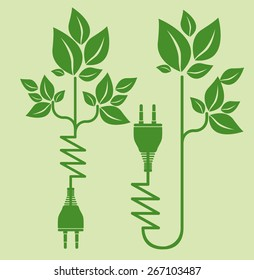 Energy saving design over green background, vector illustration