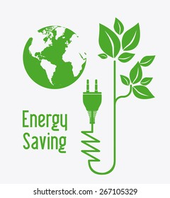 Energy saving design over white background, vector illustration