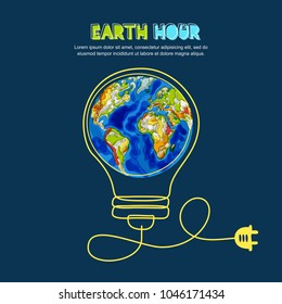 Energy saving and Earth hour concept. Vector doodle hand drawn illustration of green Earth planet in light bulb shape on dark blue background. Renewable energy and environmental.