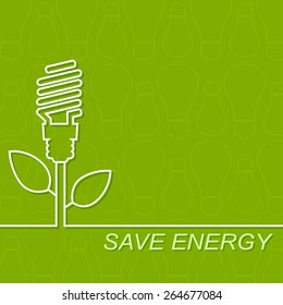 Energy saving fluorescent light bulb icon. concept of big ideas inspiration invention, effective thinking.Outline.